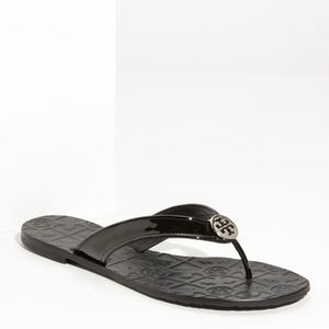 Tory Burch Thora Patent Leather Black Sandals